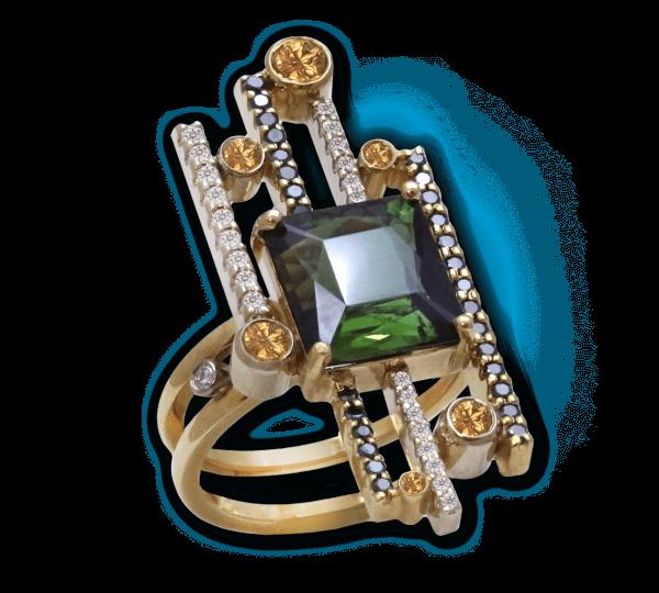 Кольцо с прямоугольным турмалином