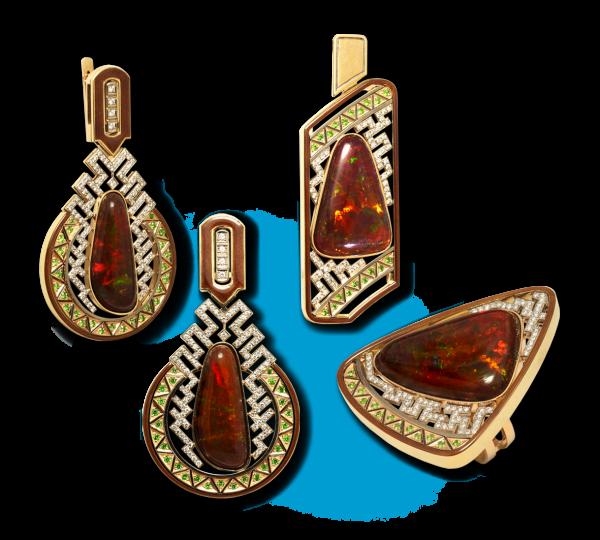 Золотые серьги, кольцо и кулон Африка. Ювелир Игорь Орлов
