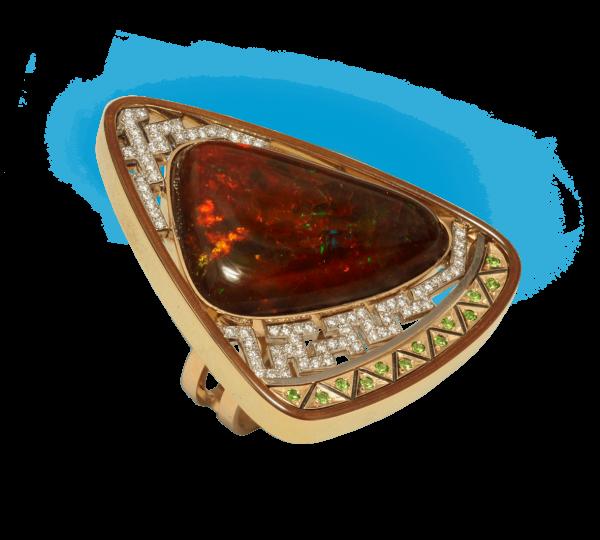 Кольцо Африка с опалом и бриллиантами. Ювелир Игорь Орлов
