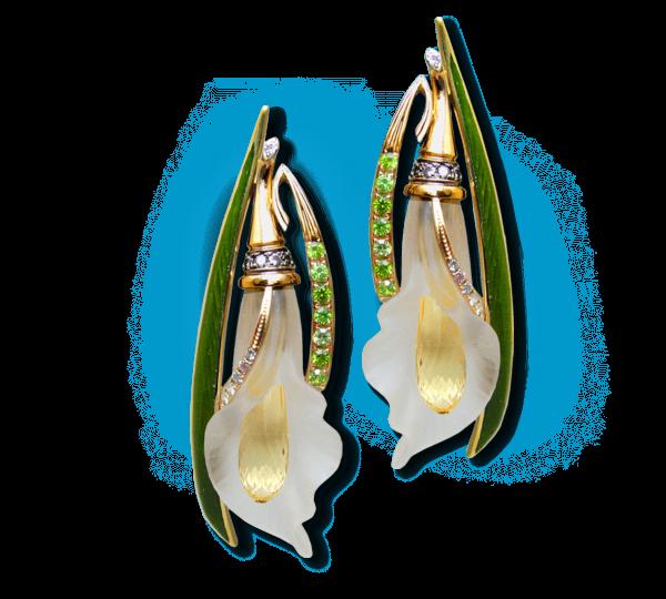 Золотые серьги Каллы