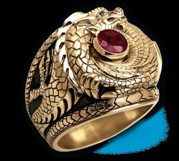 Мужской золотой перстень ручной работы Дракон с рубином. Ювелир Игорь Орлов