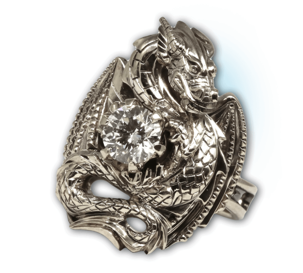 Кольцо Дракон из белого золота с крупным бриллиантом. Ювелир Игорь Орлов