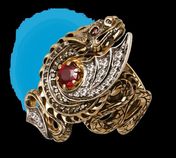 Женское кольцо Дракон с рубином. Ювелир Игорь Орлов