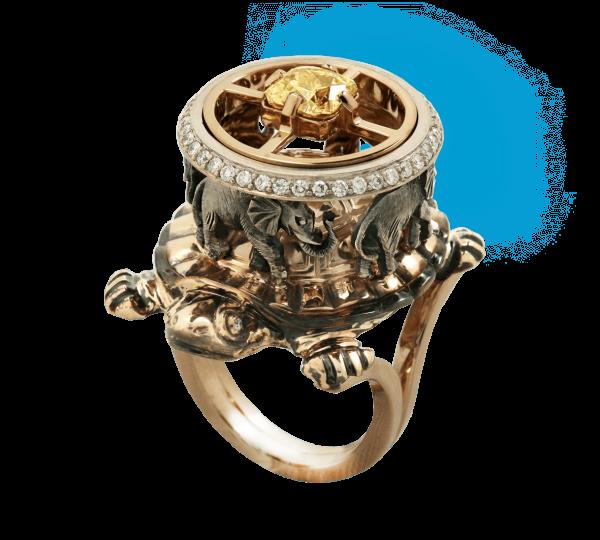 Авторское кольцо Земля из коллекции Космогония. Ювелир Игорь Орлов