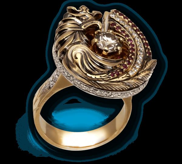 Авторское золотое кольцо Феникс с бриллиантами и рубинами. Ювелир Игорь Орлов