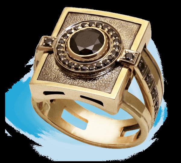 Мужской золотой перстень рцчной работы Феодал. Ювелир Игорь Орлов