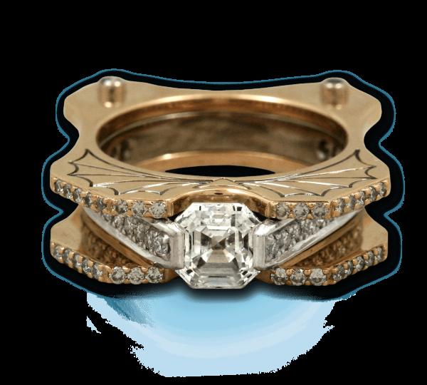 Золотое кольцо с бриллиантами Летучая Мышь. Ювелир Игорь Орлов