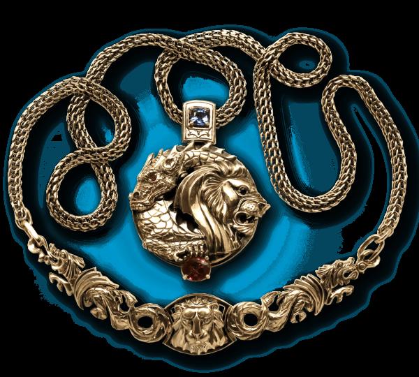 Золотой кулон ручной работы Танец Льва и Дракона с рубином и сапфиром. Ювелир Игорь Орлов