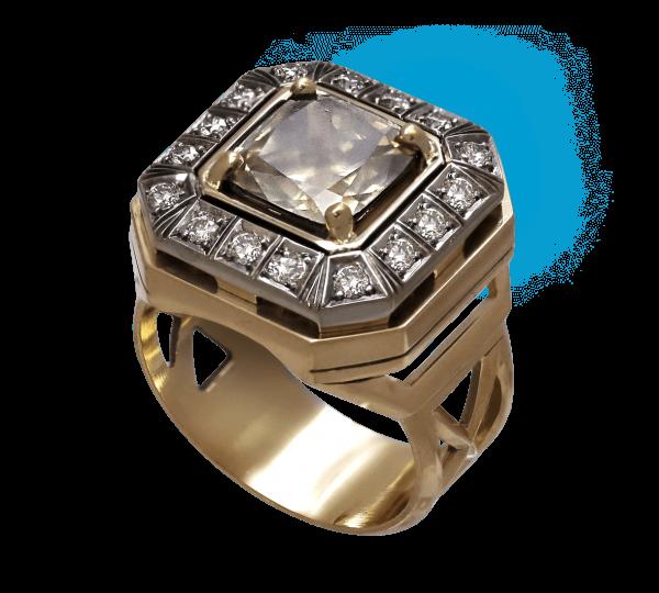 Авторский золотой мужской перстень с бриллиантами. Ювелир Игорь Орлов