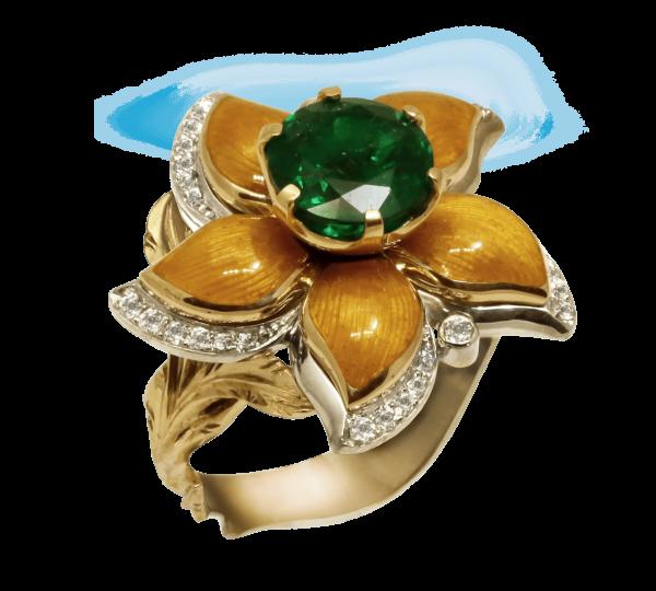 Авторское золотое кольцо с изумрудом, бриллиантами и эмалью. Ювелир Игорь Орлов