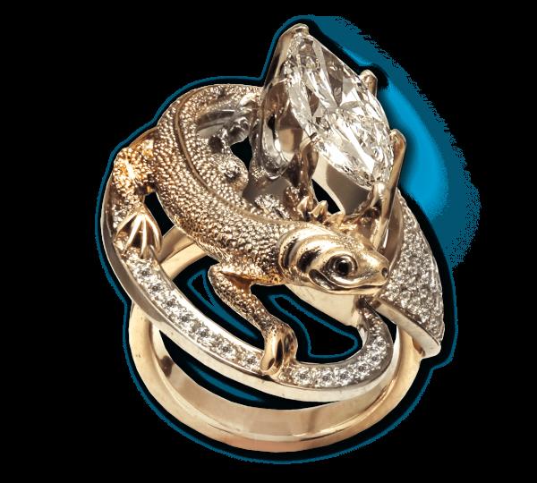 Золотое кольцо Нептун с крупным бриллиантом. Ювелир Игорь Орлов