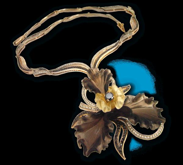 Золотое колье Черная Орхидея