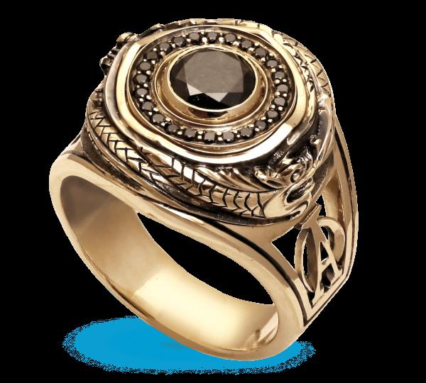 Мужской перстень ручной работы Уроборос с черным бриллиантом. Ювелир Игорь Орлов