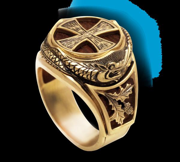 Мужской перстень ручной работы Уроборос со вставками из мореного дуба. Ювелир Игорь Орлов
