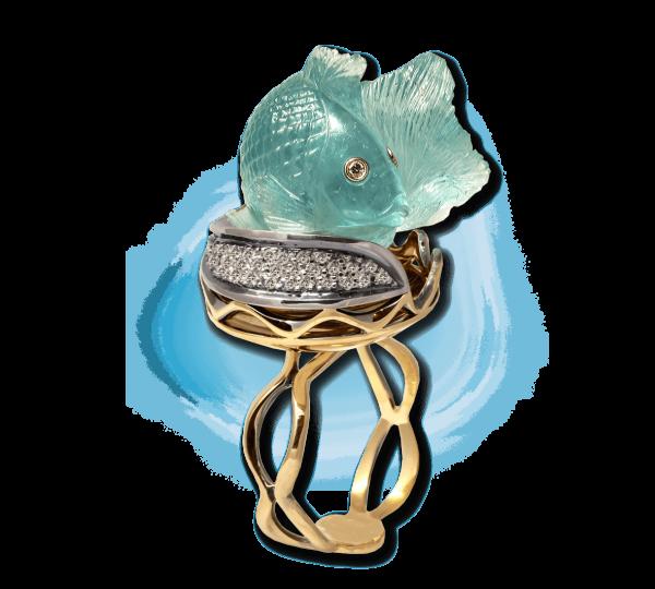 Золотое кольцо с аквамариновой рыбкой. Ювелир Игорь Орлов