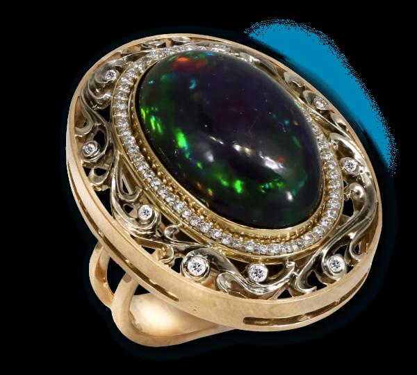 Золотое кольцо Шахерезада с черным опалом. Ювелир Игорь Орлов