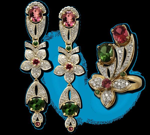 Золотые серьги и кольцо с турмалинами. Ювелир Игорь Орлов