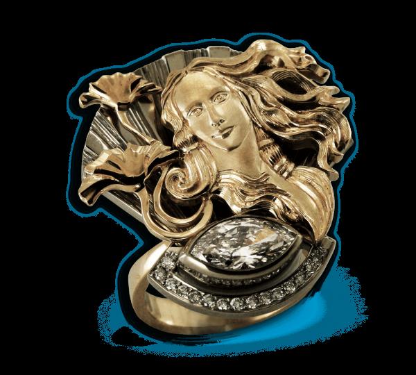 Золотое кольцо Венера с бриллиантами из коллекции Космогония. Ювелир Игорь Орлов
