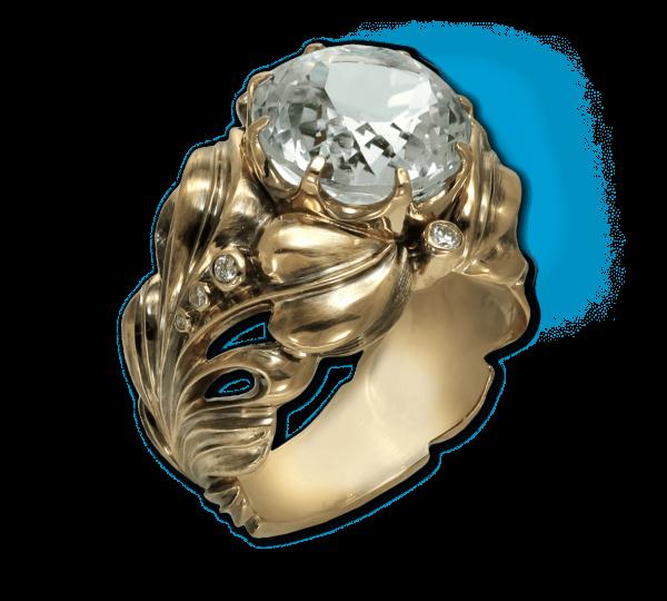 Авторское кольцо в винтажном стиле с голубыми топазами. Ювелир Игорь Орлов