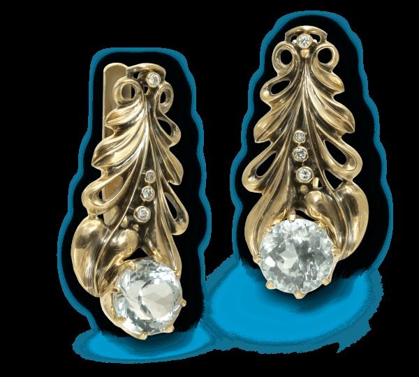 Золотые серьги с голубыми топазами в винтажном стиле